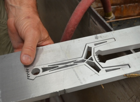 """Y"" fork frame as it comes off the waterjet"