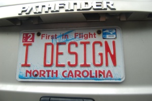 "Montie's ""I Design"" License Tag"