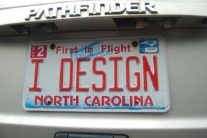 """Montie's """"I Design"""" License Tag"""