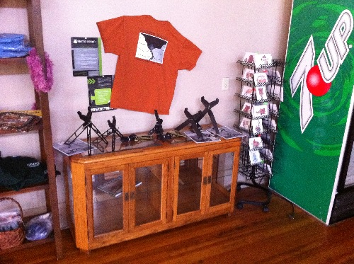 Montie Gear Display at Grits Restaurant in Spring Creek, NC