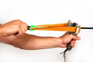 Montie Gear Y-Shot Slingshot shooting a break down arrow